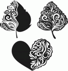 Heart And Leaf For Print Or Laser Engraving Machines Free CDR Vectors Art