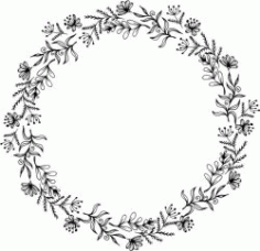 Herbal Wreath For Print Or Laser Engraving Machines F Free CDR Vectors Art