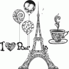 I Love Paris For Print Or Laser Engraving Machines Free CDR Vectors Art