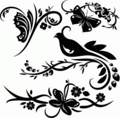 Murals Of Birds And Butterflies In Flower Gardens Free CDR Vectors Art