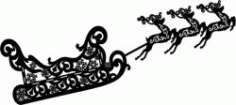 Reindeer And Sleigh For Laser Engraving Machines Free CDR Vectors Art