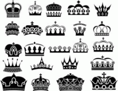 Royal Crown For Laser Cut Free CDR Vectors Art