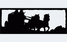 Two Up Horse Drawn Stagecoach Free DXF File