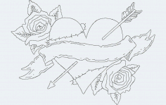 Rose Heart Free DXF File