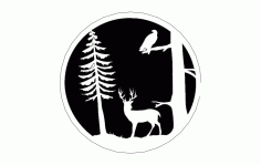 Deer Tree And Bird Free DXF File