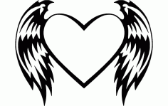 Heart With Wings Free DXF File