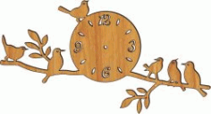 Clock On A Tree Branch Download For Laser Cut Plasma Free DXF File