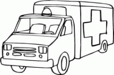 Drawing Of An Ambulance At A Hospital Free DXF File