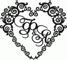 Heart Wedding Frame Download For Laser Cut Cnc Free DXF File