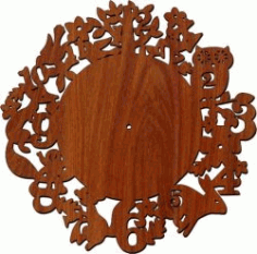Wall Clock Of Animals In The Forest For Laser Cut Plasma Free DXF File