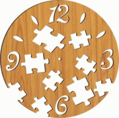 Wall Clock With Puzzle Pieces Download For Laser Cut Plasma Free DXF File
