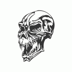 Angry Skull Free DXF File