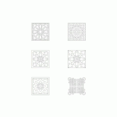 Collection Of Square Ornaments Free DXF File