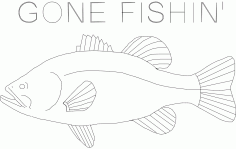 Bass Gone Fish In Final Free DXF File