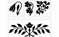 Flower Design Black Free DXF File