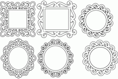 Mirror Frames Free DXF File