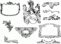 Baroque Decorative Motifs Download For Print Or Laser Engraving Machines Free CDR Vectors Art