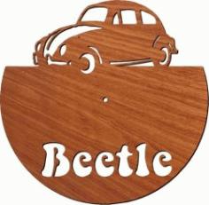 Beetle Car Wall Clock For Laser Cut Plasma Free CDR Vectors Art