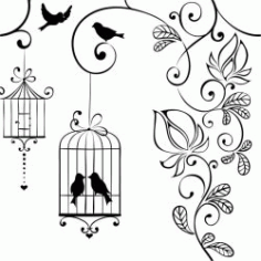 Birds Flowers And Birdcages Download For Laser Engraving Machines Free CDR Vectors Art