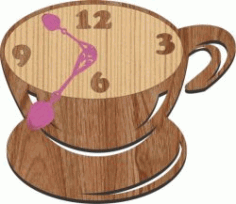 Cafe Clock For Laser Cut Plasma Free CDR Vectors Art