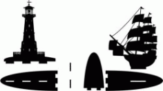 Bookshelves Light house And Ship Free DXF File