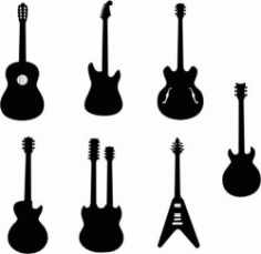 Collection Of Innovative Designs Of Guitar Models Free DXF File