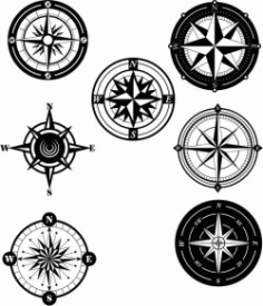 Collection Of Unique Compass Patterns Free DXF File