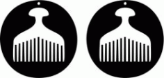 Earring Shaped Circular Design With An Ancient Comb Free DXF File