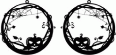 Earring Shaped Pumpkin Design With Halloween Pumpkin Theme Free DXF File