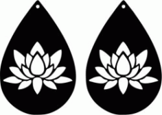 Earring Shaped Teardrop Shaped With Lotus Flower Free DXF File