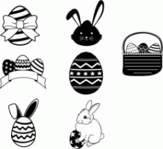 Egg And Rabbit Design Template For Easter Day Free DXF File