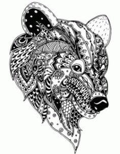 Floral Bear For Print Or Laser Engraving Machines Free DXF File