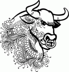 Floral Bull For Laser Engraving Machines Free DXF File
