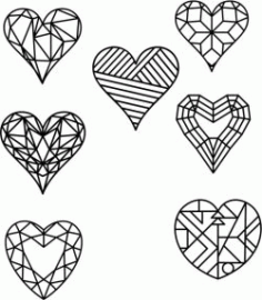 Heart Shape Designed As Crystals Free DXF File