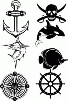 Symbols Of Ocean And Seafaring Free DXF File