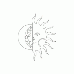 Sun And Moon Free DXF File