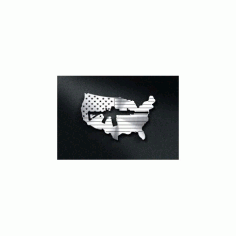 Us Flag With A Gun Cut Out Free DXF File