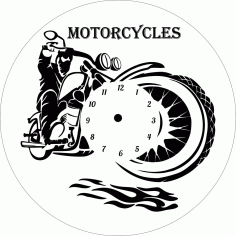 Motorcycle Clock Laser Cut File Free CDR Vectors Art