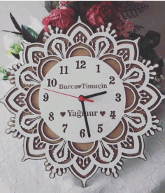 Wooden Laser Cut Clock File Free CDR Vectors Art