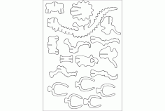Brontosaurus Puzzle -3mm Free DXF File