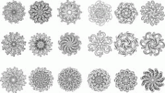 Circular Ornament Set For Laser Cut Cnc Free CDR Vectors Art