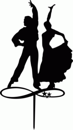 Couple Dancers Silhouette Toppers Laser Cut Free CDR Vectors Art