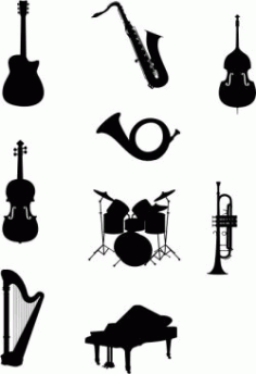 Design Of The Orchestra Instruments Free CDR Vectors Art