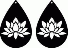 Earring Shaped Teardrop Shaped With Lotus Flower Free CDR Vectors Art