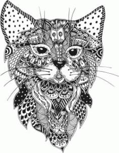 Floral Cat For Laser Cut Plasma Decal Free CDR Vectors Art