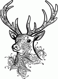 Floral Deer For Laser Engraving Machines Free CDR Vectors Art
