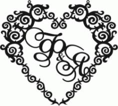 Heart Wedding Frame Download For Laser Cut Cnc Free CDR Vectors Art