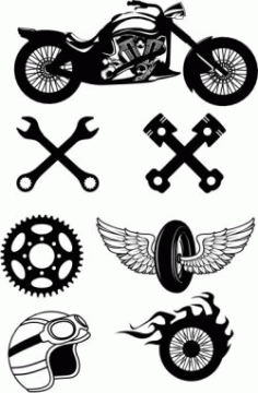 Icons For Those Who Love To Travel On A Motorbike Free CDR Vectors Art