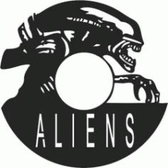 Aliens Wall Clock Free DXF File