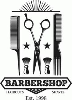 Barber Shop Logo 1998 Free DXF File